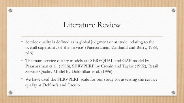 literature review on servqual model of service quality