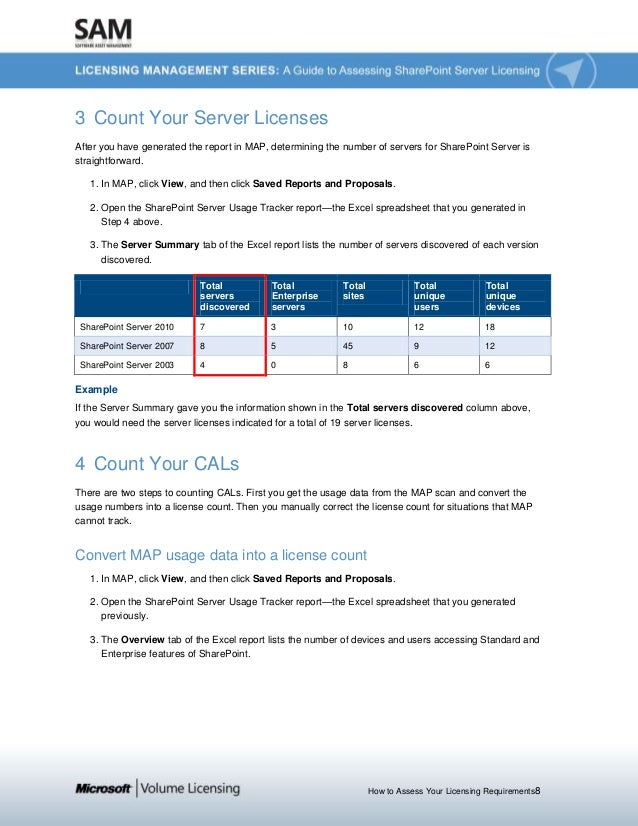 How to Assess Your Licensing Requirements8 3 Count Your Server Licenses After you have generated the report in MAP, determ...