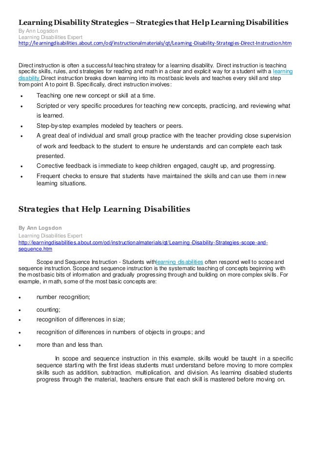 Assessing students with learning disabilities Yeth