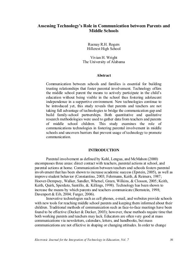 Electronic Journal for the Integration of Technology in Education, Vol. 7 36 Assessing Technology's Role in Communicat...