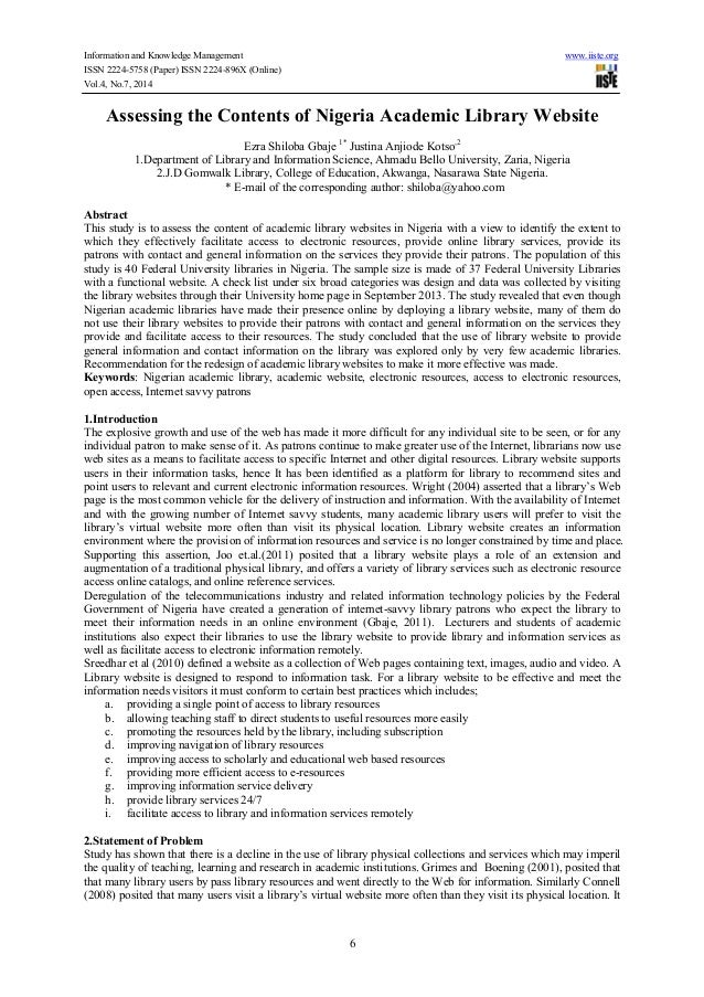 Information and Knowledge Management www.iiste.org ISSN 2224-5758 (Paper) ISSN 2224-896X (Online) Vol.4, No.7, 2014 6 Asse...