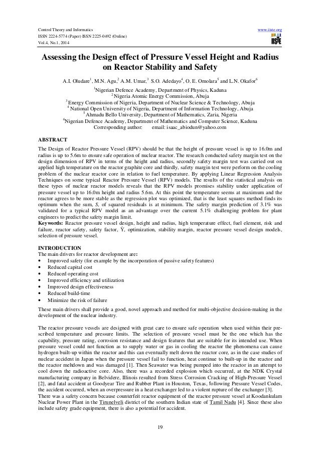 Control Theory and Informatics ISSN 2224-5774 (Paper) ISSN 2225-0492 (Online) Vol.4, No.1, 2014  www.iiste.org  Assessing ...