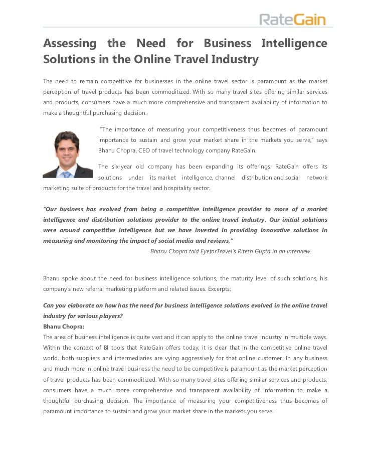 Assessing the Need for Business IntelligenceSolutions in the Online Travel IndustryThe need to remain competitive for busi...