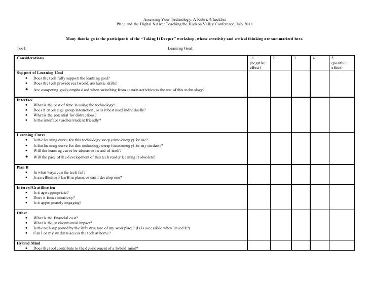 Assessing Your Technology: A Rubric/Checklist                                                            Place and the Dig...