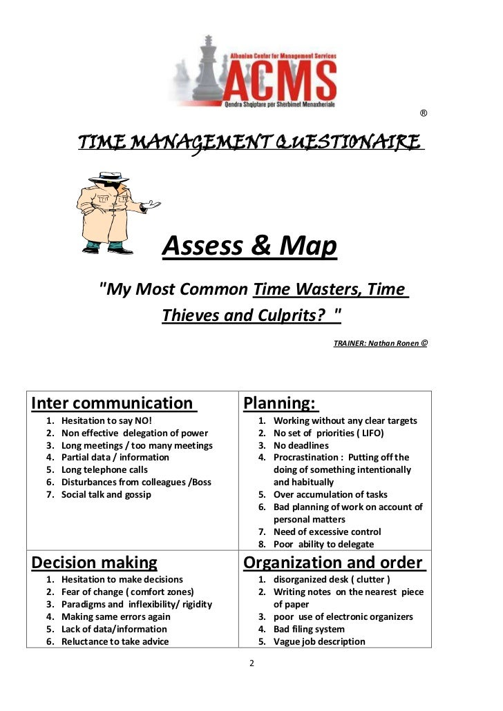 """TIME MANAGEMENT QUESTIONAIRE <br />Assess & Map<br />""""My Most Common Time Wasters, Time Thieves and Culprits?  """"<br />TRAI..."""