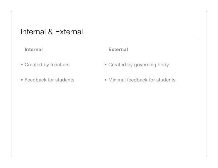 Internal & External                             External  Internal                             • Created by governing body...