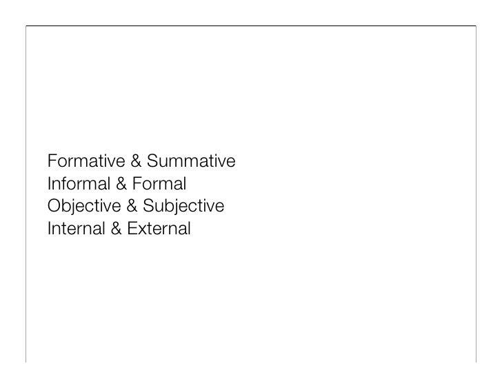 Formative & Summative Informal & Formal Objective & Subjective Internal & External