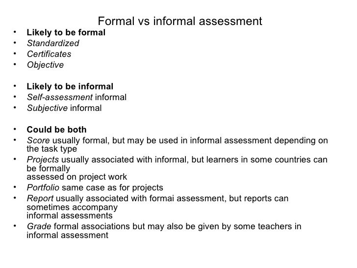 Assessment Concepts – Formal Assessment