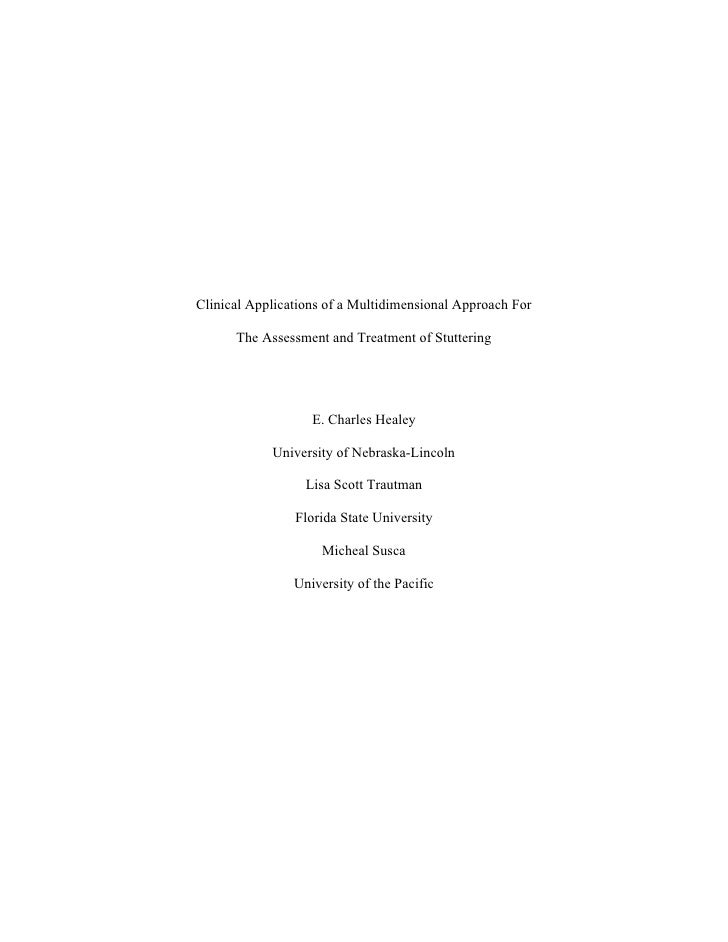 Clinical Applications of a Multidimensional Approach For        The Assessment and Treatment of Stuttering                ...