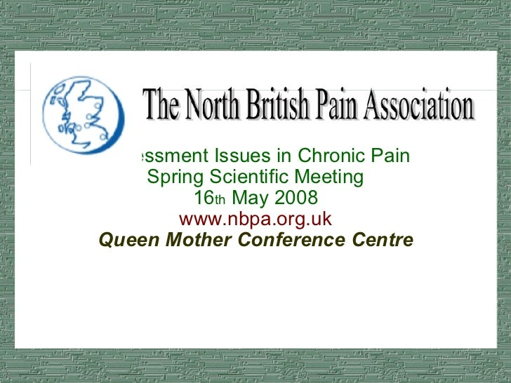 Assessment Issues in Chronic Pain Spring Scientific Meeting 16 th  May 2008 www.nbpa.org.uk Queen Mother Conference Centre