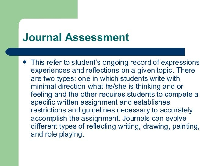 a reflective log of an assessment Reflective journals are notebooks that students use when writing about their own thoughts this encourages the development of metacognitive skills by helping students sort what they know from what they don't know.