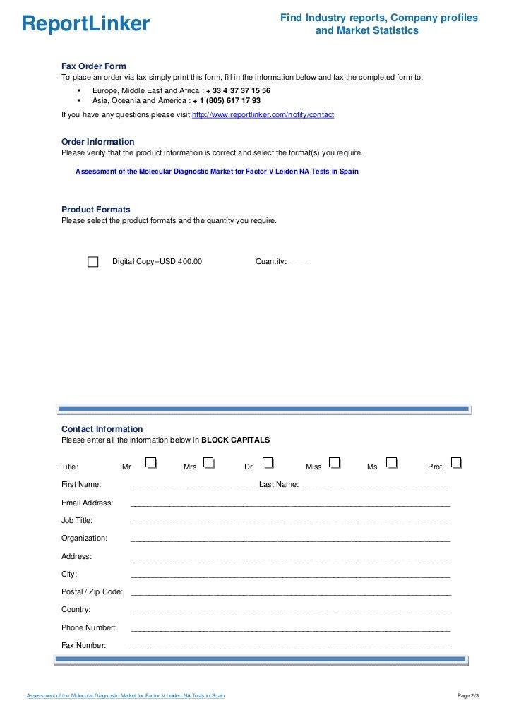 Assessment of the Molecular Diagnostic Market for Factor V Leiden NA Tests in Spain Slide 2