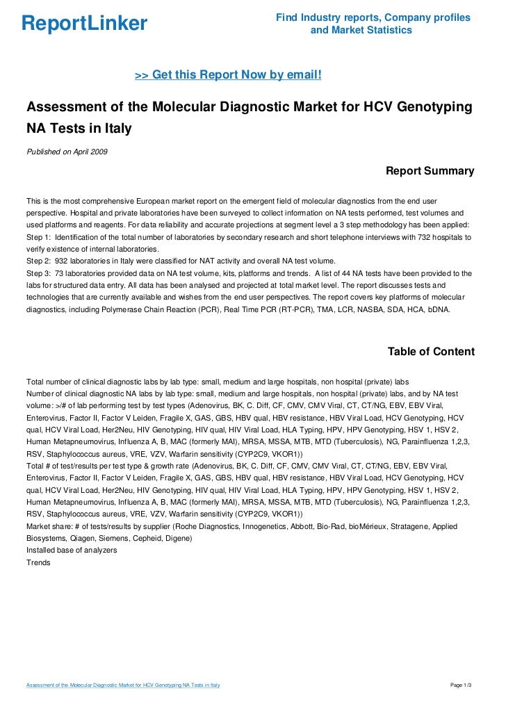 Assessment of the Molecular Diagnostic Market for HCV Genotyping NA Tests in Italy