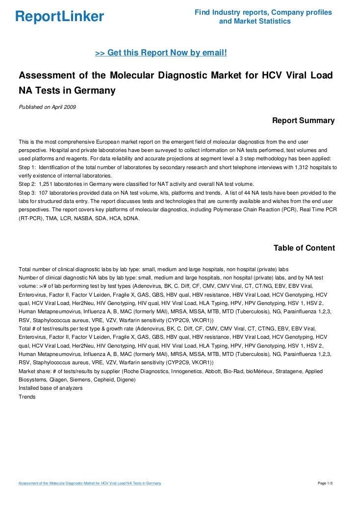 Assessment of the Molecular Diagnostic Market for HCV Viral Load NA Tests in Germany