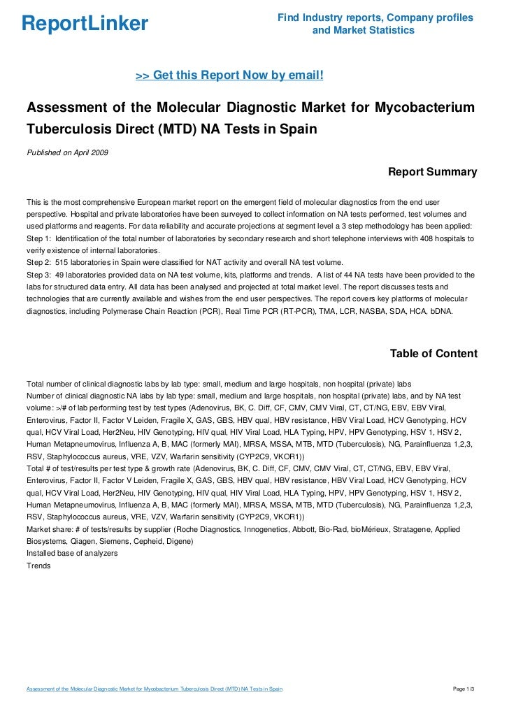 Assessment of the Molecular Diagnostic Market for Mycobacterium Tuberculosis Direct (MTD) NA Tests in Spain