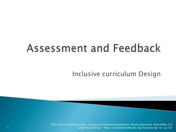 Assessment and Feedback<br />Inclusive curriculum Design<br />1<br />
