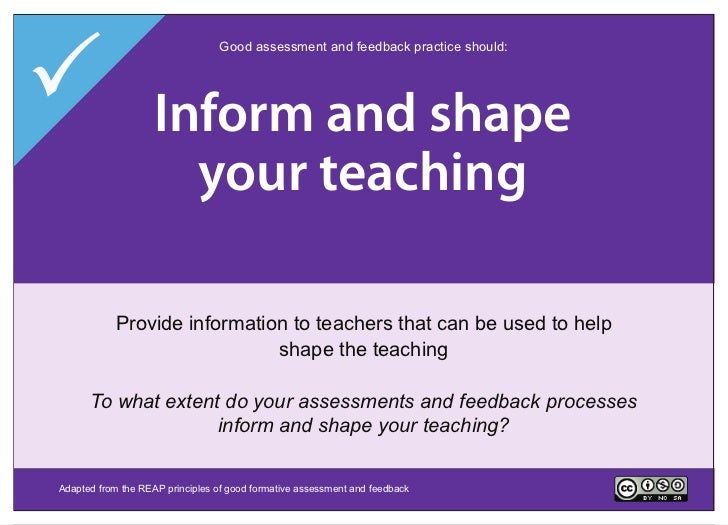Encourage interaction                                  Good assessment and feedback practice should:   Deliver high shape...