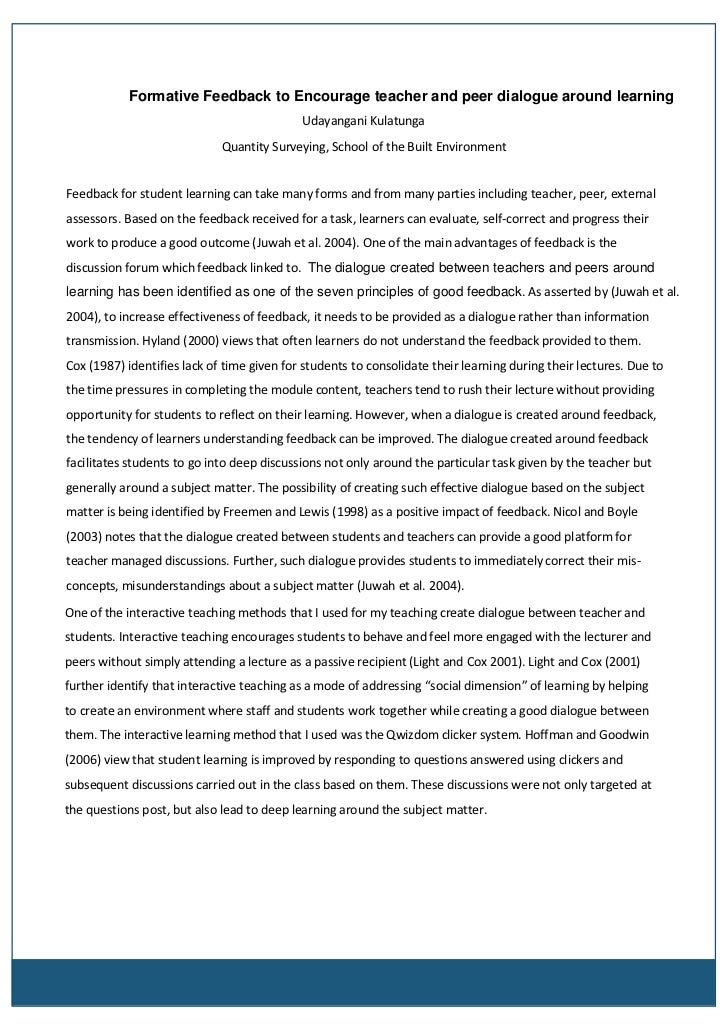 assessment and feedback study group project