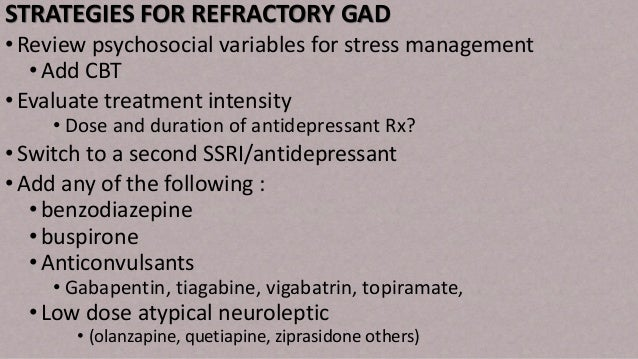 Assessment and management of generalized anxiety disorder