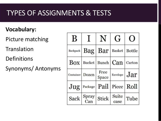 assignment test your vocabulary
