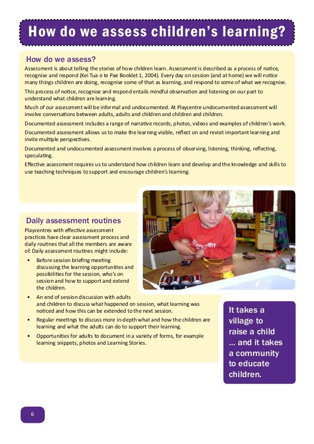 Assessment Planning And Evaluation In Playcentre