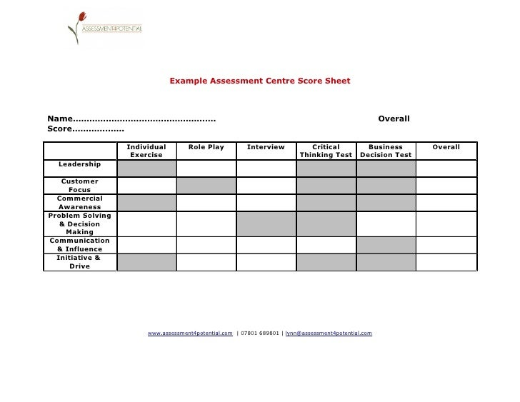Assessment Centre Score Sheet
