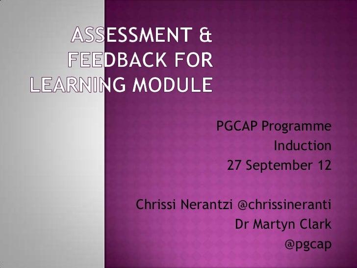 PGCAP Programme                     Induction              27 September 12Chrissi Nerantzi @chrissineranti                ...