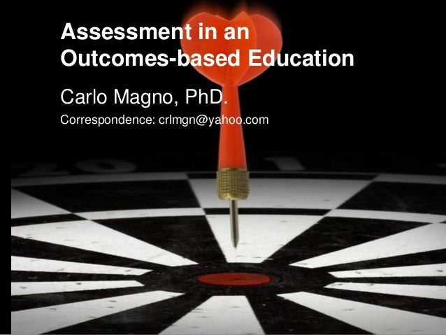 Assessment in an Outcomes-based Education Carlo Magno, PhD. Correspondence: crlmgn@yahoo.com