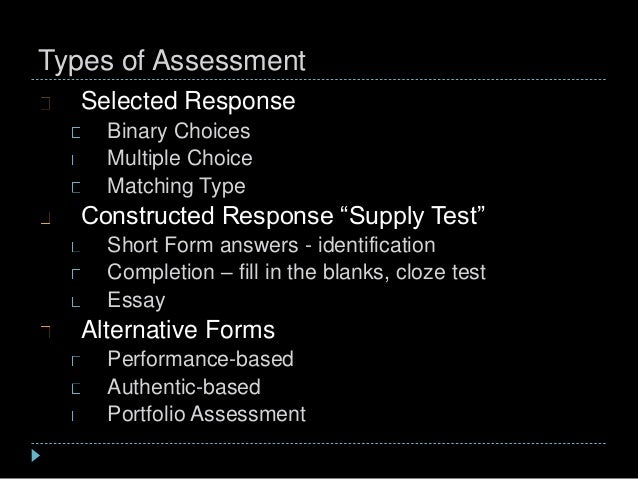"""Types of Assessment Selected Response Binary Choices Multiple Choice Matching Type Constructed Response """"Supply Test"""" Shor..."""