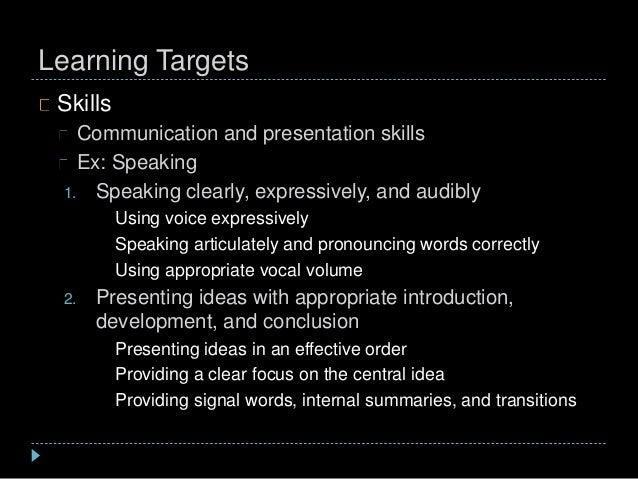 Learning Targets Skills Communication and presentation skills Ex: Speaking 1. Speaking clearly, expressively, and audibly ...