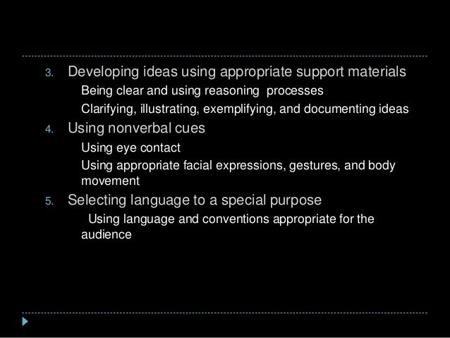 3. Developing ideas using appropriate support materials a) Being clear and using reasoning processes b) Clarifying, illust...