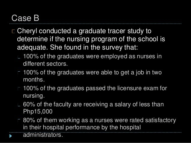 Case B Cheryl conducted a graduate tracer study to determine if the nursing program of the school is adequate. She found i...