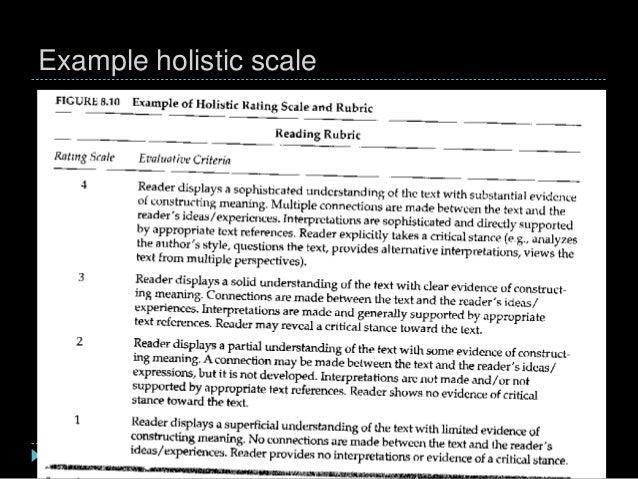 Example holistic scale