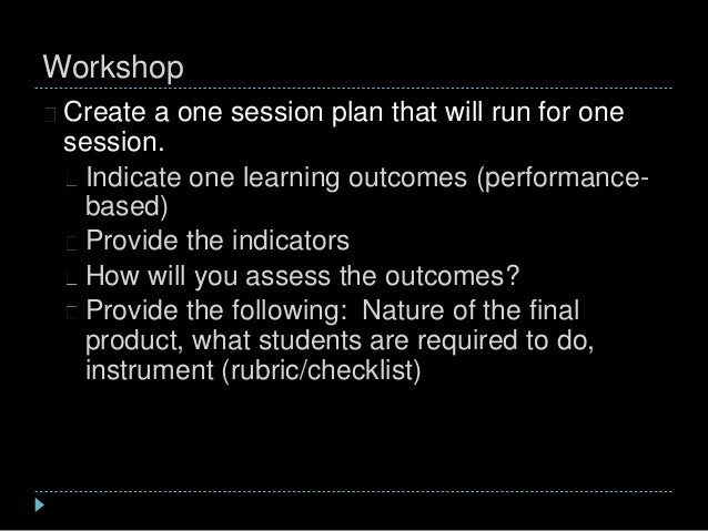 Workshop Create a one session plan that will run for one session. Indicate one learning outcomes (performance- based) Prov...