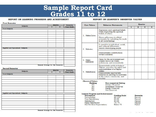 Custom Card Template  Preschool Report Card Templates Free  Free