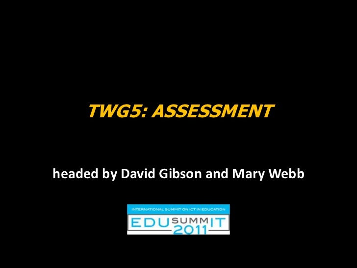 TWG5: Assessment <br />headed by David Gibson and Mary Webb<br />