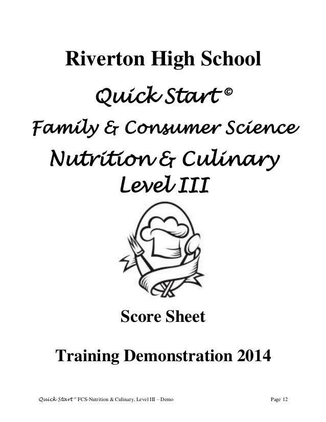 Assessment Model #3 Nutrition and Culinary, Level III High