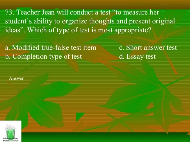 assessment of learning  answer 73