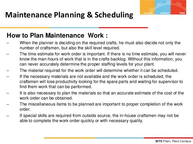 The Do's and Don'ts of Effective Maintenance Planning