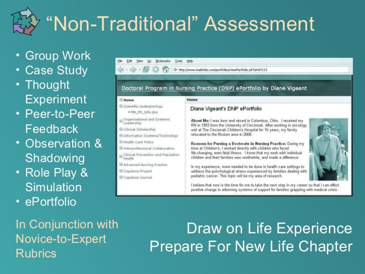 Assessment of non-traditional programs and students.