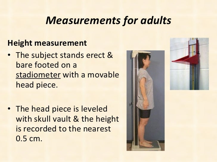 Measurements for adults <ul><li>Height measurement  </li></ul><ul><li>The subject stands erect & bare footed on a  stadiom...