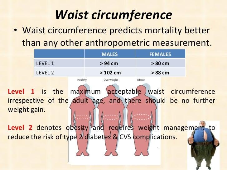 Waist circumference <ul><li>Waist circumference predicts mortality better than any other anthropometric measurement. </li>...