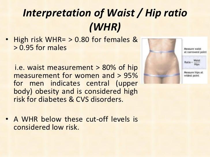Interpretation of Waist / Hip ratio (WHR) <ul><li>High risk WHR= > 0.80 for females & > 0.95 for males  </li></ul><ul><li>...