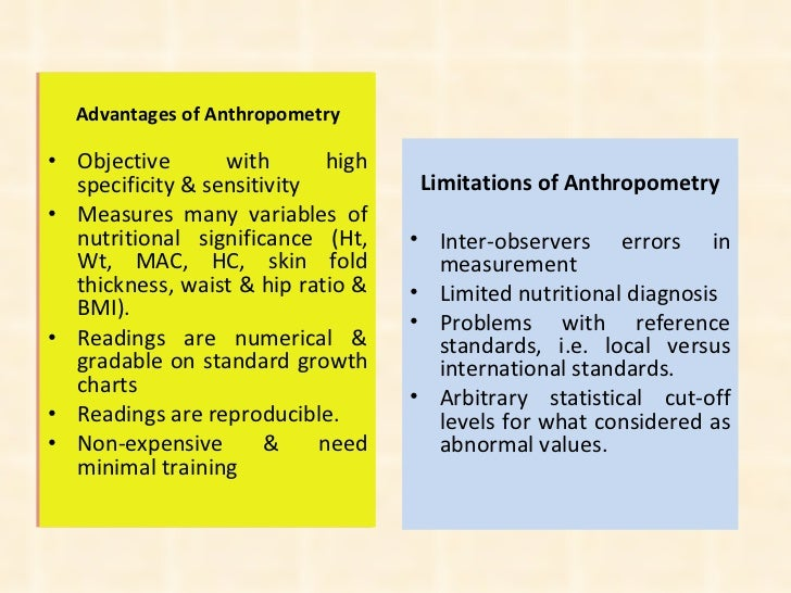 <ul><li>Advantages of Anthropometry </li></ul><ul><li>Objective with high specificity & sensitivity </li></ul><ul><li>Meas...