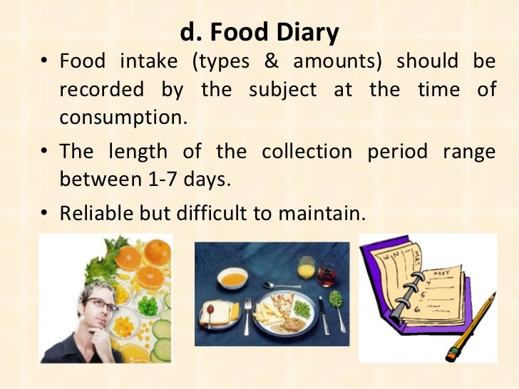 d. Food Diary <ul><li>Food intake (types & amounts) should be recorded by the subject at the time of consumption. </li></u...