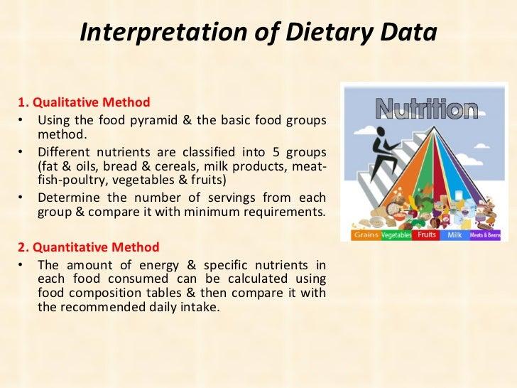 Interpretation of Dietary Data <ul><li>1. Qualitative Method </li></ul><ul><li>Using the food pyramid & the basic food gro...