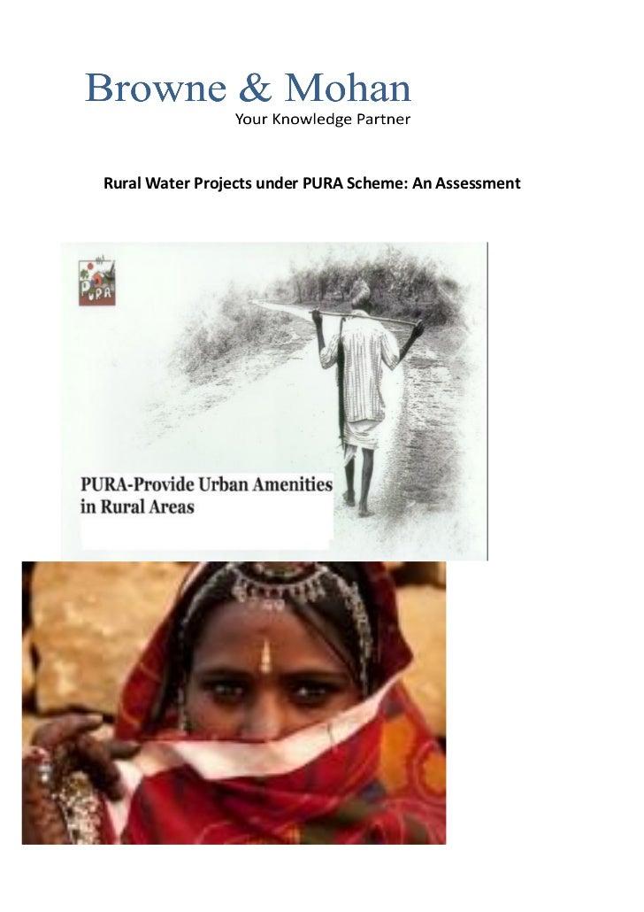 Rural Water Projects under PURA Scheme: An Assessment