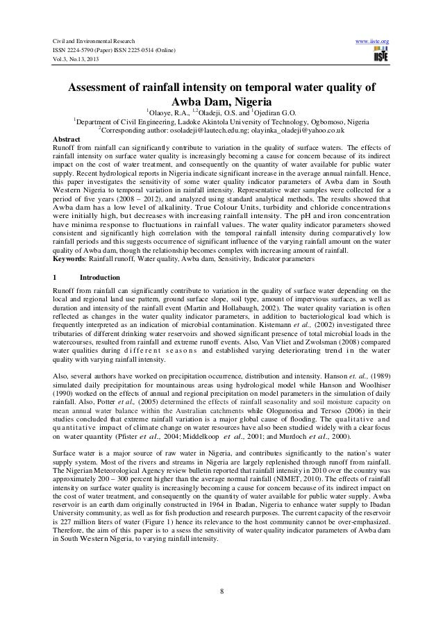Civil and Environmental Research ISSN 2224-5790 (Paper) ISSN 2225-0514 (Online) Vol.3, No.13, 2013  www.iiste.org  Assessm...