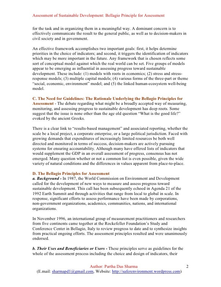 ... 2. Assessment of Sustainable Development: Bellagio Principle ...