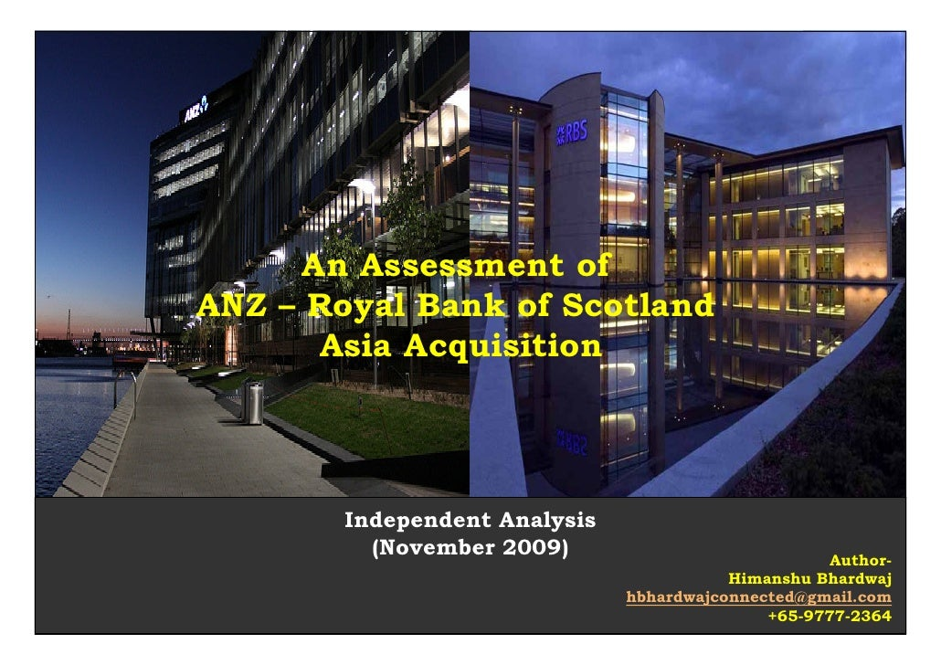 An Assessment of ANZ – Royal Bank of Scotland        Asia Acquisition            Independent Analysis          (November 2...